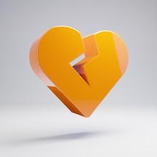 Volumetric Glossy Hot Orange Heart Broken Icon Isolated On White Background.