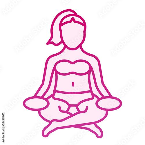 Woman meditating flat icon  Lotus pose pink icons in trendy
