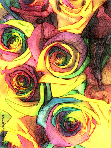 Obraz na plátně  A bouquet of roses with petals of all colors of the rainbow