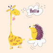 A giraffe from Africa and a hedgehog forest animal friends. Vector illustration of hedgehog and giraffe suitable for children's books, clothes, cards. Fabric decoration