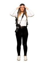 Full Body Of Young Photographer Woman Unhappy And Frustrated With Something