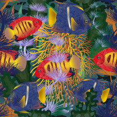Panel Szklany Morze Seamless underwater card with tropical fish, vector illustration
