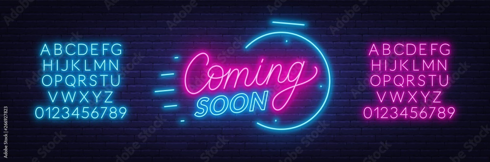 Fototapety, obrazy: Coming soon neon sign on brick wall background. Template for design. Neon alphabet .Vector illustration.