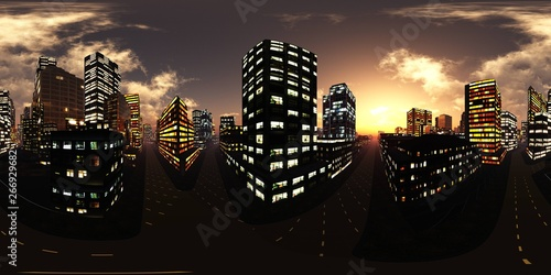 Night city  HDRI   equidistant projection  Spherical