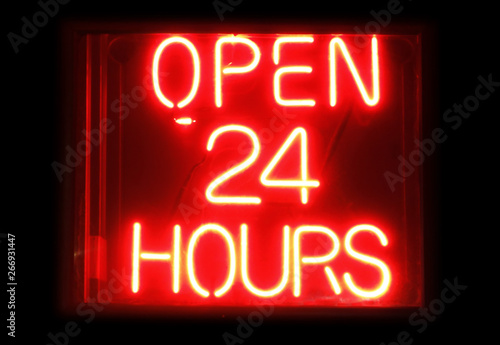 Fotografia, Obraz  Open 24 Hours neon sign