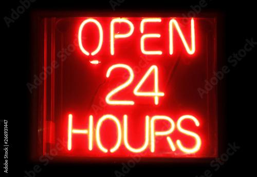Fényképezés  Open 24 Hours neon sign