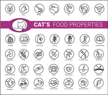 Cat's Food Properties Icon Set...