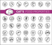 Cat's Food Properties Icon Set...