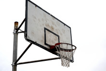 The Basketball Hoop Where The Trace Of An Intense Exercise Was Left.