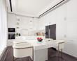 Modern white kitchen interior design 3D Rendering