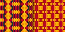 Set Of Ethnic Seamless Pattern. Kente Cloth. African Textile. Tribal Geometric Print.