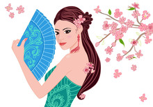 Beautiful Chinese Girl With A Fan For Your Design