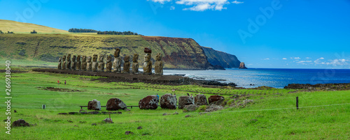 Valokuva  Huge panorama of Moai statues on Easter Island. Ahu Tongariki