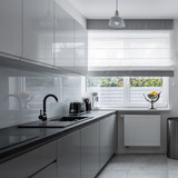 Narrow kitchen with contemporary furniture