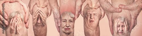 Photo Senior men holding the knee with pain