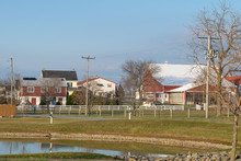 Small Pond, Small Buildings, And Farm House In A Rural Scene, Lancaster County, PA