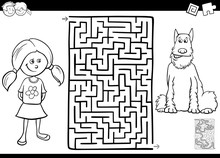 Maze Color Book With Girl Nad Her Dog