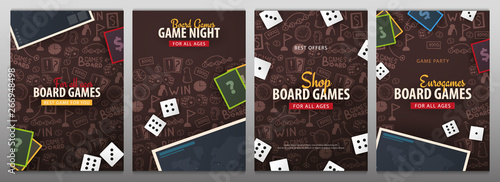 Photo Set of Board Games banners with dice,  playing cards and map