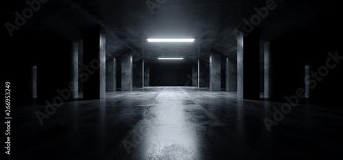 Fototapeta Sci Fi Modern Dark Concrete Cement Asphalt Futuristic Spaceship Elegant Underground Garage Tunnel Corridor Empty Space White Glow Glossy Columns 3D Rendering obraz