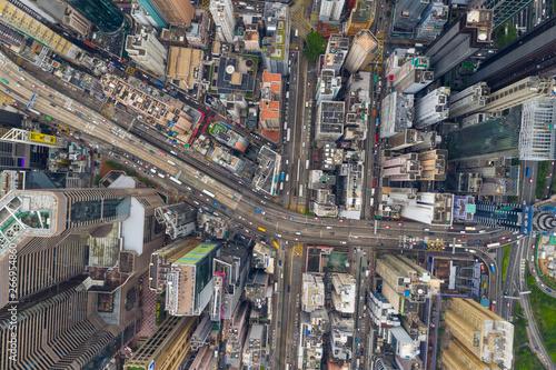 Poster Bangkok Top view of Hong Kong island district