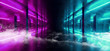 canvas print picture - Smoke Sci Fi Neon Modern Futuristic VIbrant Glow Purple Blue Laser Show Stage Track Path Entrance Gate Underground Garage Hall Tunnel Corridor Glossy Dark Club Spaceship 3D Rendering
