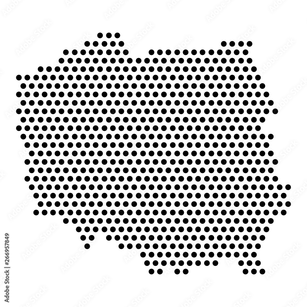Fototapety, obrazy: Isolated dotted political map of Poland - Vector