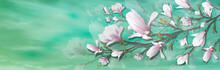 Realistic Flower, Magnolia Branch Isolated On Green Background. Magnolia Branch Is A Symbol Of Spring, Summer, Feminine Charm, Femininity In The Style Of Realism. 3d, Volumetric Pink Flower, Backgroun