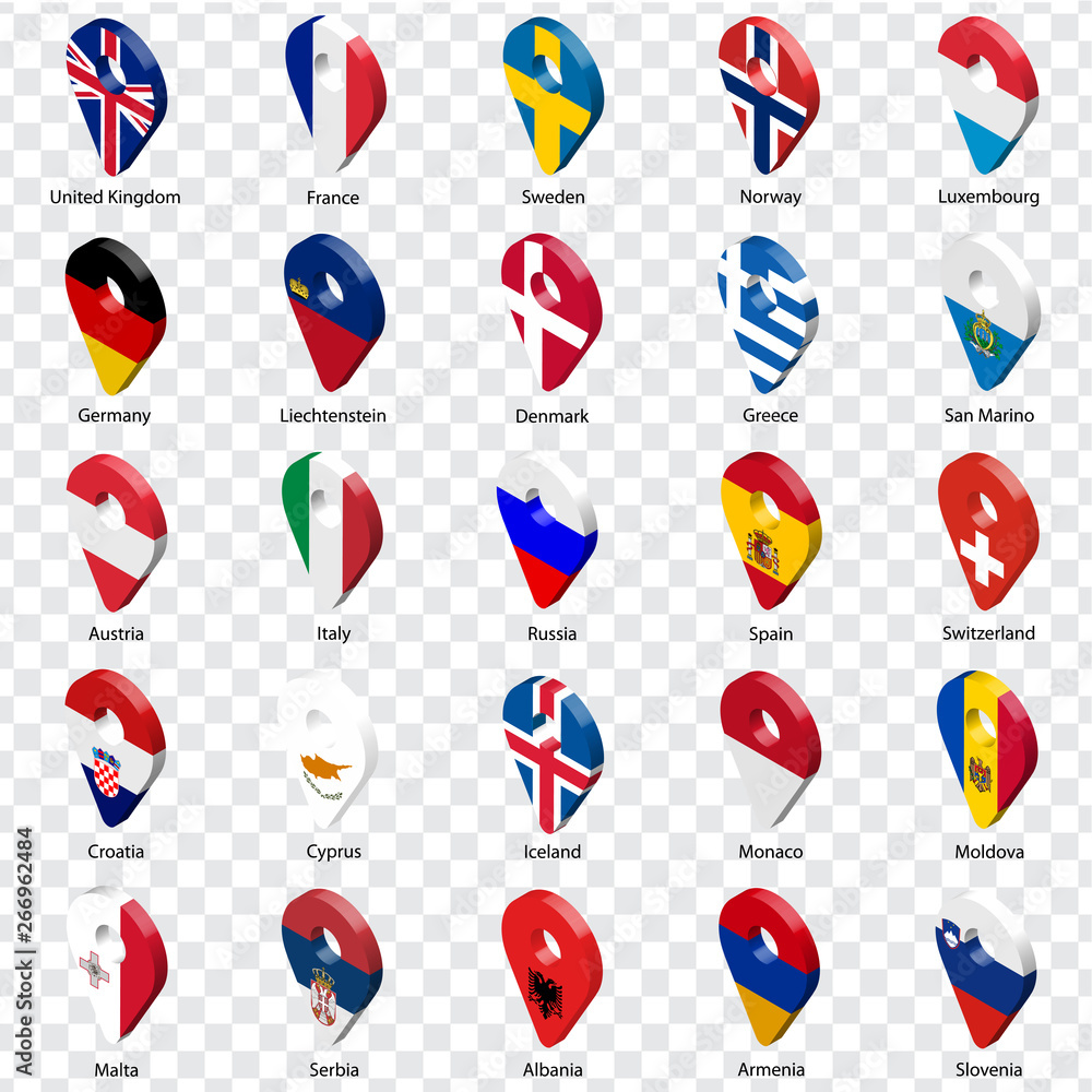 Fototapeta 3D geolocation signs of twenty five European countries with inscriptions. Set of  twenty five 3d geolocation icons on transparent background. Flags of European countries in the form of location signs.
