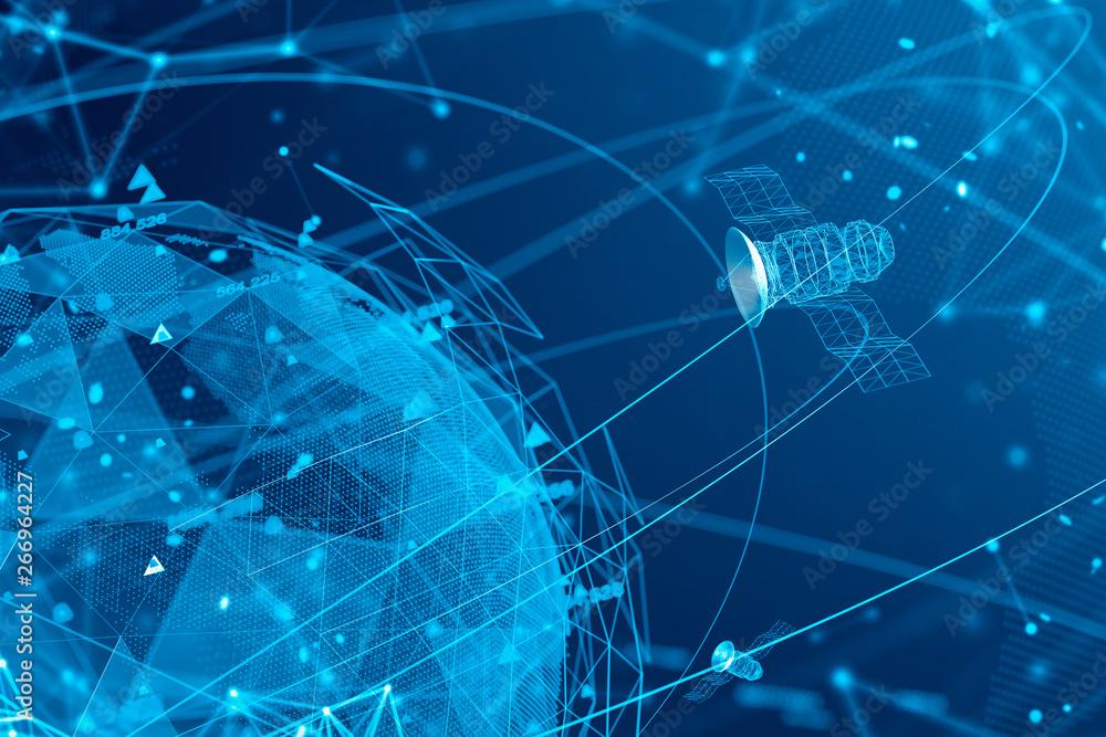 Fototapeta Satellites and GPS virtual blue interface