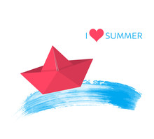 Red Paper Boat Summer Design Card Vector Illustration