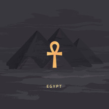 Vector Icon Isolated On Hand-drawn Vector Background Of Egypt Pyramids Ankh Or Symbol Of Eternal Life, Breath Of Life, Egyptian Cross.