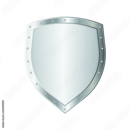 Obraz na plátně Metal shield vector illustration isolated on white background