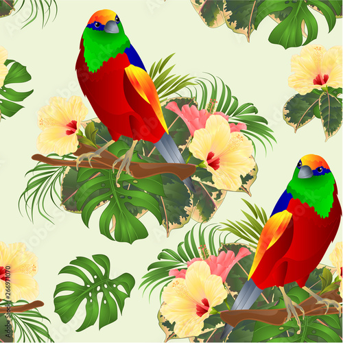 Foto auf AluDibond Ziehen Seamless texture tropical bird on a branch with tropical flowers hibiscus palm,philodendron watercolor background vintage vector illustration editable hand draw