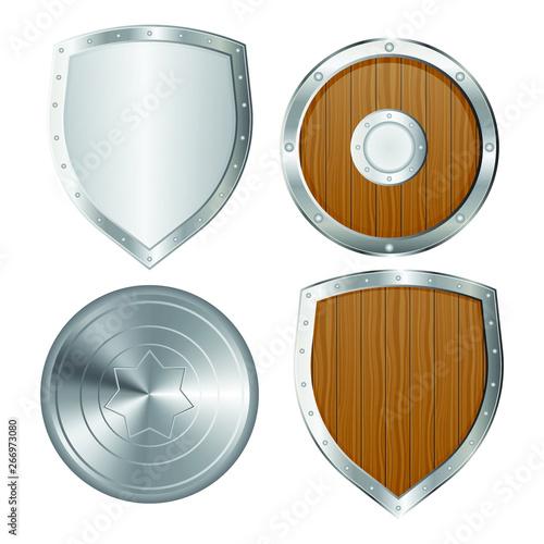 Fotografie, Obraz Set of shields vector illustration isolated on white background