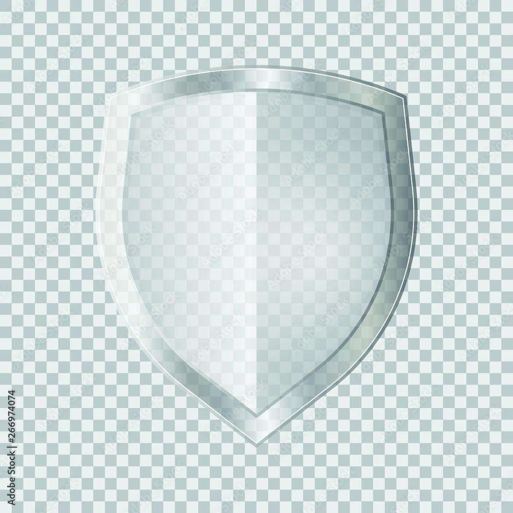 Fotografie, Obraz Transparent glass shield vector illustration isolated on white background