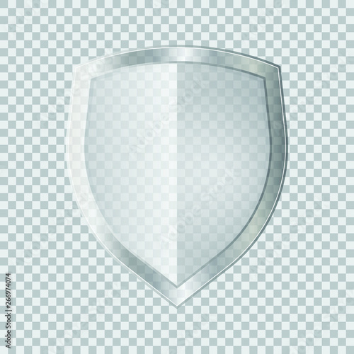 Fotografie, Obraz Transparent glass shield vector illustration isolated on white background