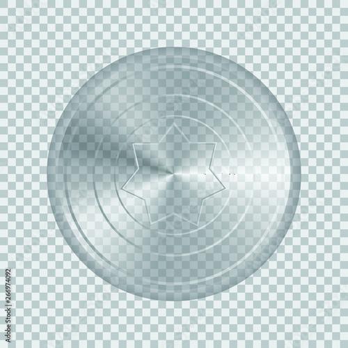 Fototapeta Transparent glass shield vector illustration isolated on white background