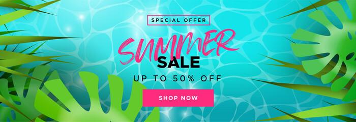 Tropical summer season sale banner for discount