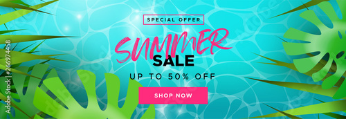 Obraz Tropical summer season sale banner for discount - fototapety do salonu