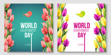World Environment Day Card, Banner On The Green And White Background With Flowers, Red, Yellow, Pink Tulips And Leaves. Color Living Coral. 5 June. Eco, Bio, Nature. Vector Illustration