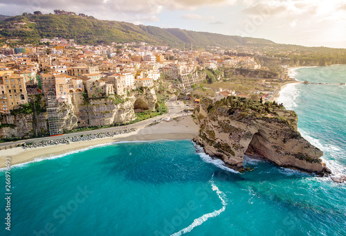 Carta da parati Panorama with beautiful italian town Tropea, in south of Italy with the iconic beach, old town and church at the cliff