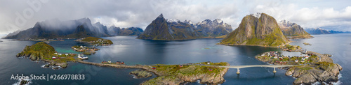 Poster Northern Europe Aerial panoramic of Reine Bay and Hamnoy, Norway