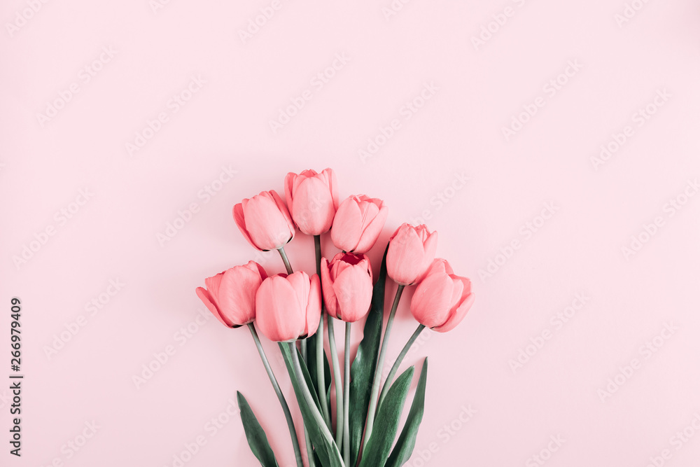 Fototapety, obrazy: Beautiful composition spring flowers. Bouquet of pink tulips flowers on pastel pink background. Valentine's Day, Easter, Birthday, Happy Women's Day, Mother's Day. Flat lay, top view, copy space