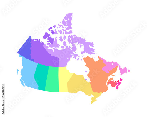 Map Of Canada Silhouette.Vector Isolated Illustration Of Simplified Administrative Map Of