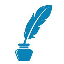 Writing Feather And Ink Pot Vector Icon