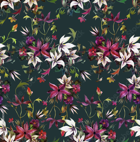 Canvastavla Seamless floral pattern with abstract garden flowers