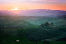 Picturesque Landscape Of Green Fields With Cottage And Trees In Bright Sunset Light, Italy