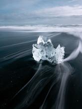 Huge Block Of Ice On Coast In Diamond Beach Iceland