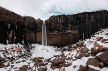 The Dark Falls (svartifoss) In Skaftafell In National Park Iceland