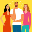 Love triangle and relationship issues illustration